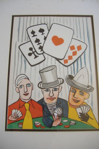 Alexander Calder old lithograph print rare three card players poker art 1975