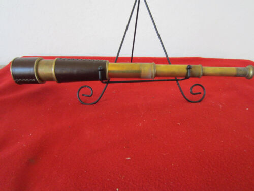 NAUTICAL, MARITIME BRASS & LEATHER SHIP CAPT. TELESCOPE