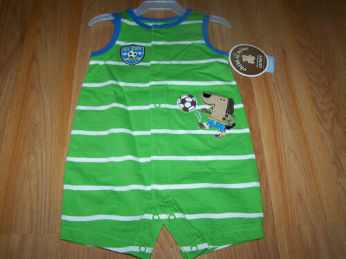 Infant Baby Size 3-6 Months Carters Sunsuit Romper Outfit Soccer Dog Green White