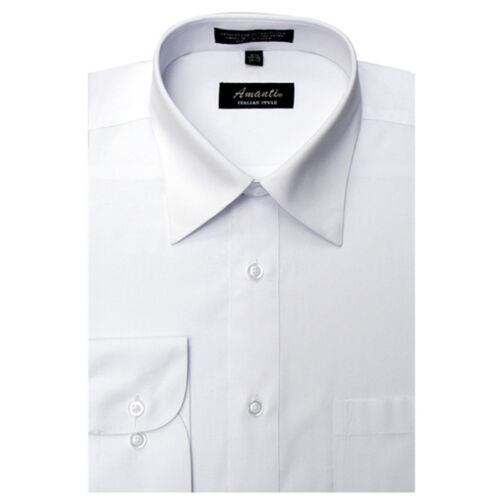 Mens Dress Shirt Plain White Modern Fit Wrinkle-Free Cotton Blend Amanti Spread