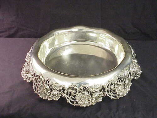 """Theodore B Starr Reticulated Floral Sterling Silver Centerpiece Bowl 18"""" #1412"""