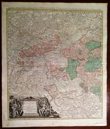 Carta geografica antica Germany Old Map RENANIA-PALATINATO Mainz Homann 1710