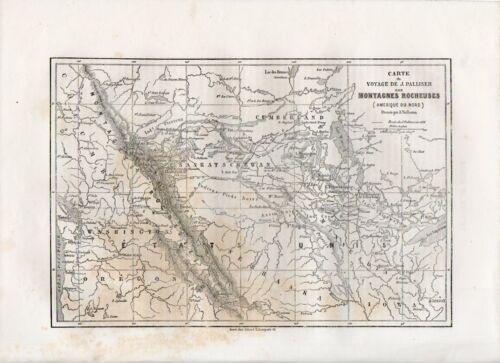 Carta geografica antica MONTAGNE ROCCIOSE ROCKY MOUNTAINS 1861 Old map