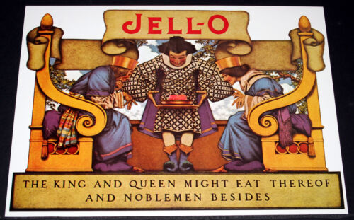 """MAXFIELD PARRISH PORTFOLIO PRINT, 1921 JELL-O """"KING & QUEEN MIGHT EAT"""" LARGE!"""