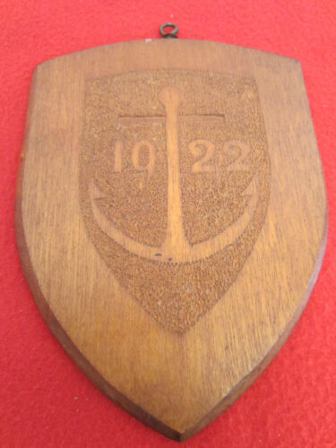ANTIQUE WOODEN HAND CARVED 1922 ANCHOR PLAQUE