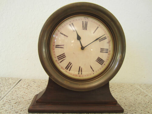 SHIP'S BRASS REPLICA ENGINE ROOM MANTLE CLOCK