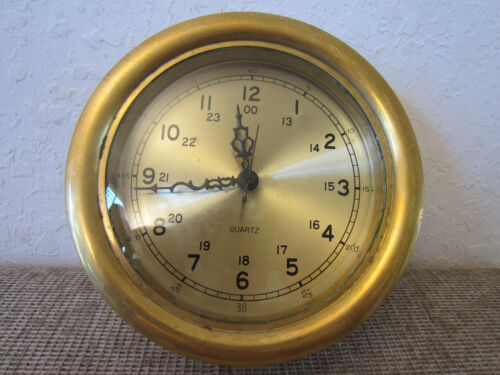 DECORATIVE MARITIME, REPLICA BRASS SHIP CLOCK