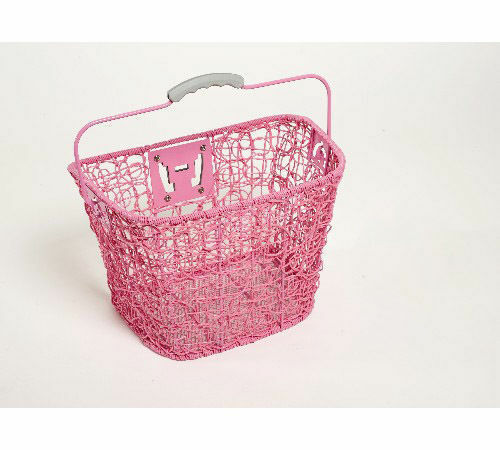 Bicycle Front Wire Basket Pink With Quick Release