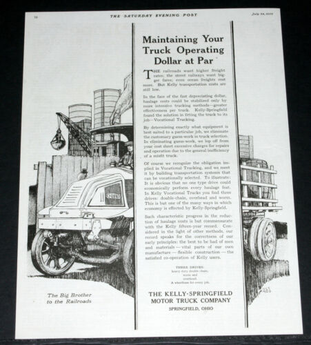 1920 old magazine print ad kelly springfield motor trucks for Motor freight shipping rates