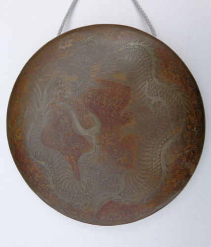 Original Rare 19th Century or Earlier Japanese Dragon Gong w/ Stick Mallet !🐉