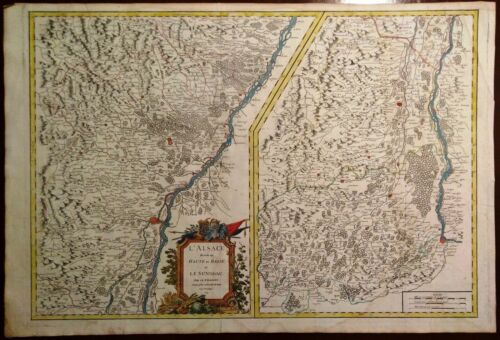 Carta geografica antica Old Map ALSAZIA ALSACE Francia Reno Vaugondy 1754