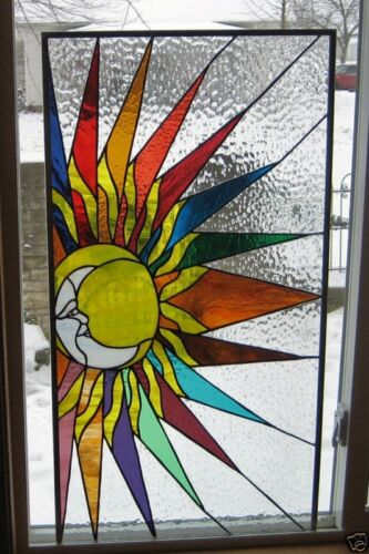 Sun and Moon Stained Glass Window Panel EBSQ