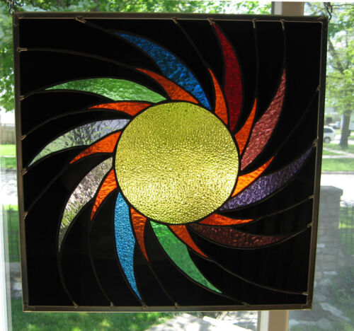 Spiraling Sun Stained Glass Windows Panel