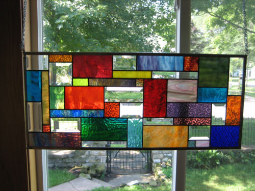 Splashy   Stained Glass Beveled Windows Panel Origianl
