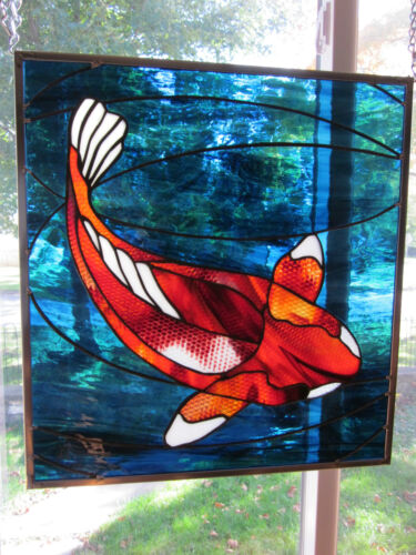 Solitude Koi  Stained Glass Windows Panel Original