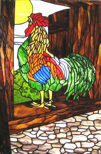 Rooster in the Haymow Stained Glass Window Panel EBSQ Artist