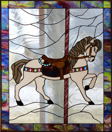 Carousel Horse #3 Stained Glass Window Panel EBSQ Artist