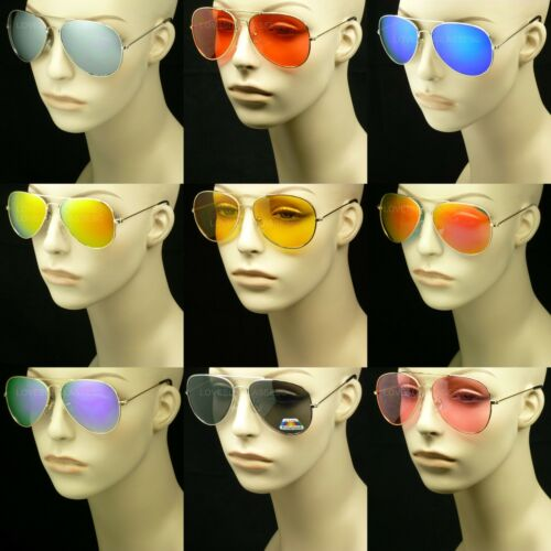 SUNGLASSES AVIATOR MEN WOMEN NEW LENS FRAME COLOR RETRO VINTAGE STYLE
