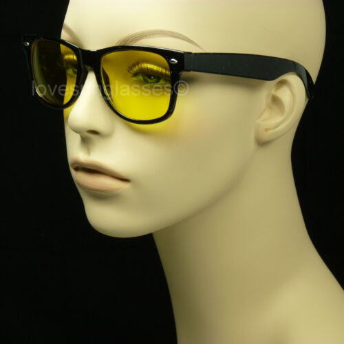 NIGHT DRIVING GLASSES SUNGLASSES VISION YELLOW LENS VINTAGE HD FRAME