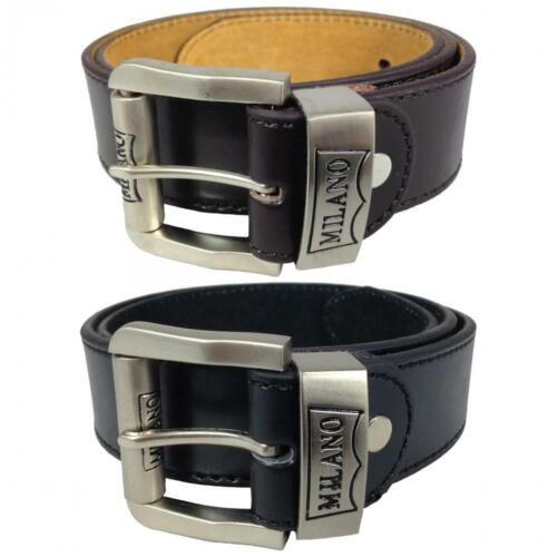 MENS LEATHER BELTS 1.5'' JEANS BELT BY MILANO IN BLACK AND BROWN 2753