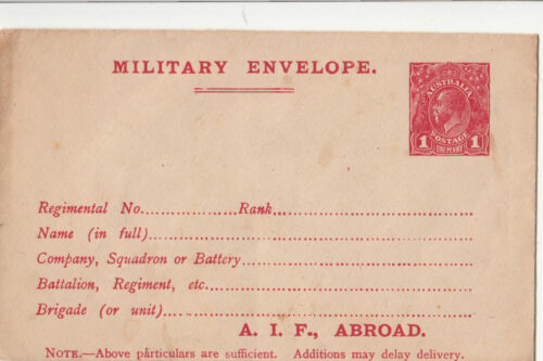 ANZAC,s WW1 pre-prited cover 1d red KGV with A.I.F abroad at base cat No X2.4