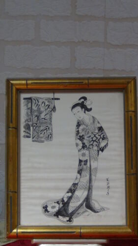 """ANTIQUE JAPANESE INK ON THE PAPER PAINTING""""YOUNG WOMAN"""" SIGNED"""