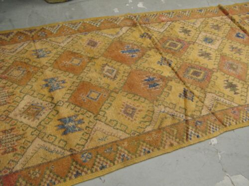 Antique Moroccan African Rug Runner 4'-4 x 11' Hand Knotted Wool on Wool Tribal