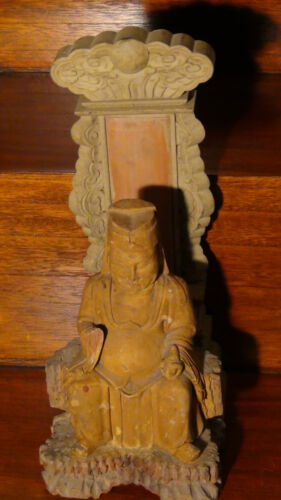 ANTIQUE 19C CHINESE WOOD HAND CARVED TEMPLE STATUE OF BUDDHA WITH BACK STAND