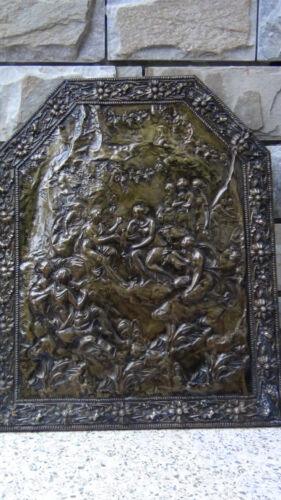 """RARE ANTIQUE18C FRENCH HIGH RELIEF CHASED COPPER WALL PLAQUE"""" LOVE SCENES"""""""