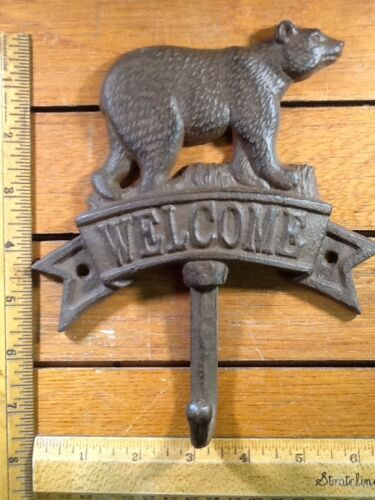 """BEAR WELCOME SIGN HOOK rustic cast iron 7-1/2"""" Lodge Cabin"""