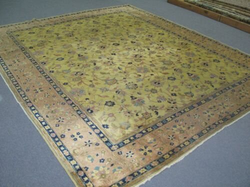 Antique Larestan India Rug Carpet Hand Knotted 8'-1 x 9'-9  Wool Yellow - Gold