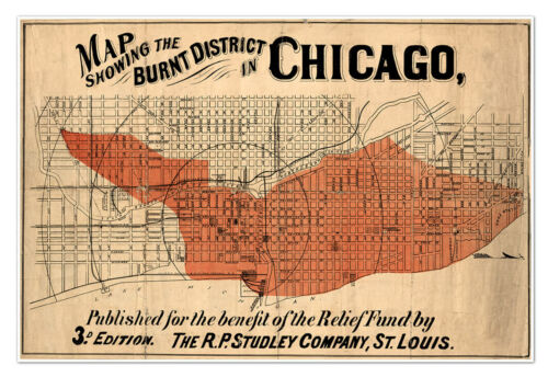 HUGE CHICAGO Burnt District MAP (Great Fire) circa 1871 - Vintage Reprint Poster