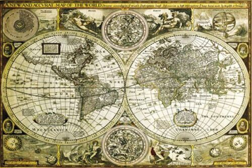 HISTORICAL WORLD MAP POSTER - 24x36 GEOGRAPHY GLOBE 33762