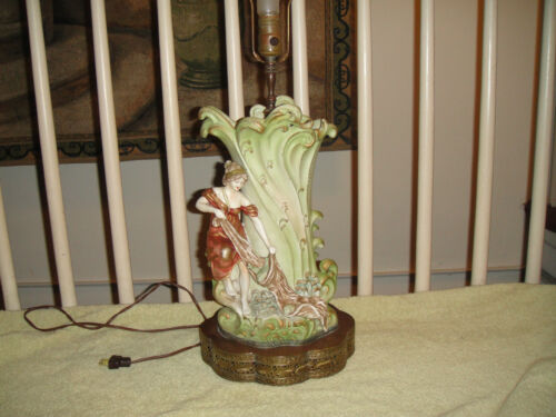 Antique Victorian Art Deco Lamp Of Woman Catching Fish In Net-Metal Base-Unusual