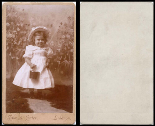 ANTIQUE CDV PHOTO PORTRAIT OF A CHARMING GIRL WITH BUCKET & LEBANON, PA STUDIO