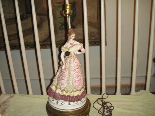 Antique Capodimonte Italy Victorian Woman Figural Lamp-Flowing Dress-Detailed