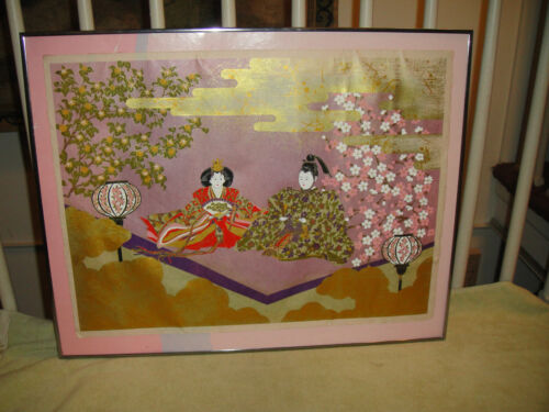 Vintage Chinese Or Japanese Print Or Lithograph-Linen Paper?-Bright Colors-LOOK