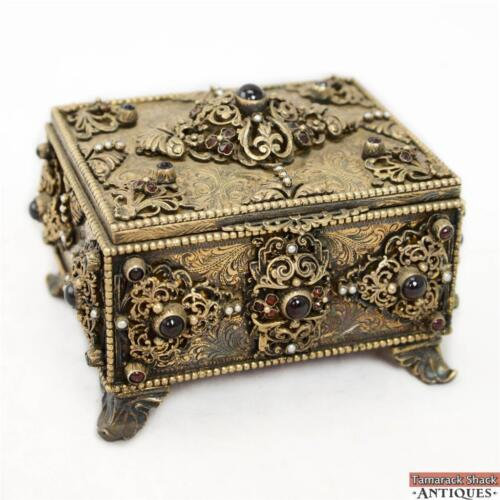 19thC Exceptionally Ornate Jeweled Hand Chased Jewelry Casket Trinket Box Rococo