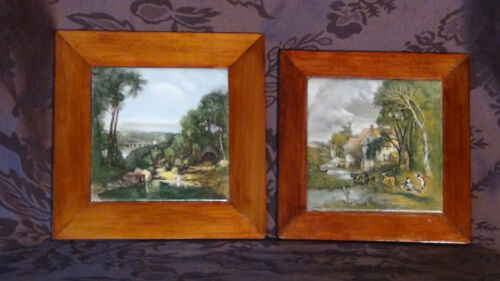 PAIR VINTAGE ART POTTERY SPAIN HAND PAINTED FIGURAL TILE FRAMED WALL HANGING