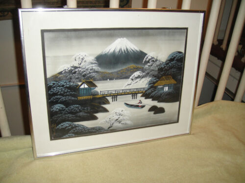 Japanese Chinese Painting On Fabric Signed Man In Boat Mountain View