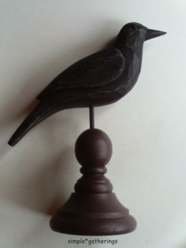 Primitive Black Wood Crow w/ Burgundy Spindle Base Folk Art, Wooden, Country