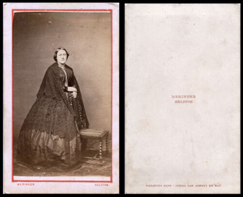 1860s CDV PHOTO VICTORIAN LADY WITH LACE SHAWL BY BERINGER, HELSTON, ENGLAND