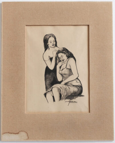 Old Southeast Asia painting: two women