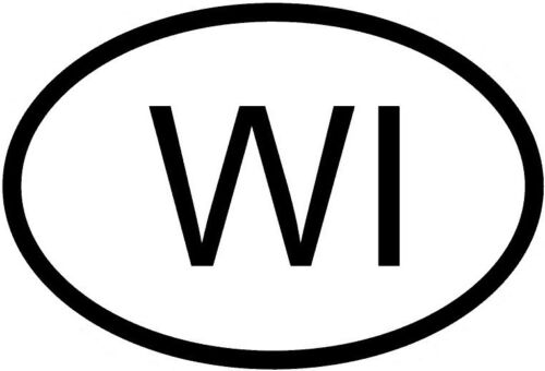 WI WISCONSIN COUNTRY CODE OVAL STICKER