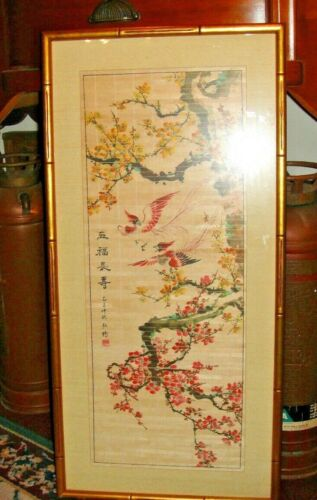 Vintage Japanese Chinese Painted Art Birds Of Paradise In Trees Signed Stamped