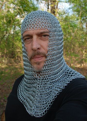 New Knights Steel Chainmail Chain Mail Coif Armor Hood for Hauberk 10mm ButtedReenactment & Reproductions - 156374