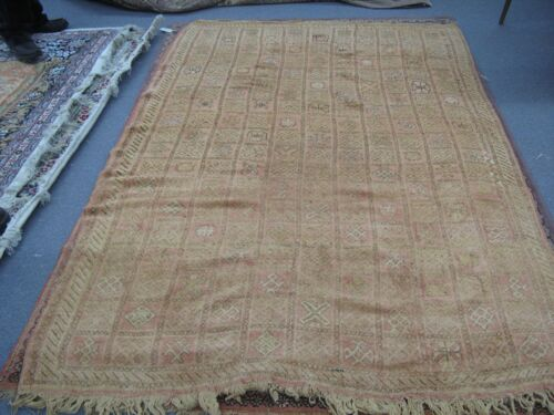 Semi Antique Hand Knotted Moroccan Berber Tribal Wool Rug 7'-8 x 5'-0 African