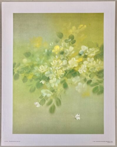 """WHITE ORCHID Wall Decor 12"""" x 16"""" Hawaii Flower Vintage; Collectible; David Lee"""