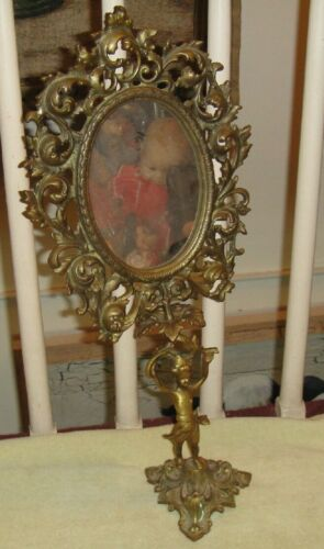 Antique Victorian Art Deco Mirror W/Angel Base-Gilded Cast Metal-Large-LQQK