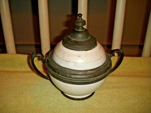 Antique Ceramic & Pewter Double Handle Sugar Bowl-Russian?-Unusual-Asian Bowl?